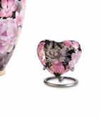 Elite Floral Garden Blush Cloisonne Heart Brass Keepsake Cremation Urn