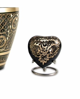 Elite Radiance Heart Brass Keepsake Cremation Urn