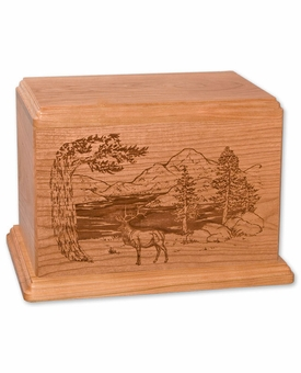Elk Cherry Wood Newport Laser Carved Cremation Urn