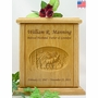 Elk & Mountains Relief Carved Engraved Wood Cremation Urn