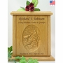 Elk & Stream Relief Carved Engraved Wood Cremation Urn
