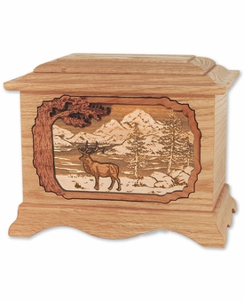 Elk with 3D Inlay Oak Wood Cremation Urn