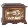 Elk with 3D Inlay Walnut Wood Cremation Urn