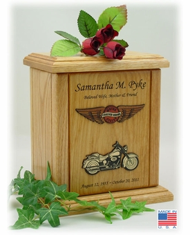 Embossed Forever Riding Motorcycle Circle And Wings Engraved Wood Cremation Urn