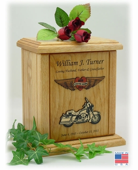 Embossed Forever Riding Motorcycle Heart And Wings Engraved Wood Cremation Urn