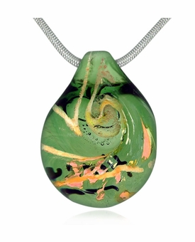Emerald Cremains Encased in Glass Cremation Jewelry Pendant