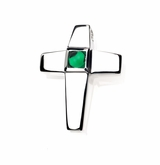 Emerald CZ Birthstone Cross Polished Sterling Silver Cremation Necklace Pendant