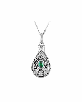 Emerald CZ Birthstone Teardrop Sterling Silver Cremation Jewelry Necklace