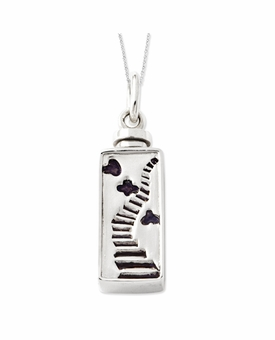 Enameled Stairway to Heaven Sterling Silver Cremation Jewelry Necklace