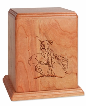 End of Trail Cherry Wood Newport Laser Carved Cremation Urn