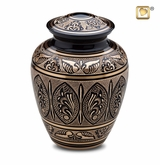 Engraved Black and Gold Cremation Urn