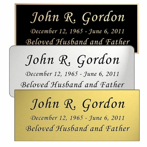 Engraved Rectangular Nameplate - Choose Style, Color and Size