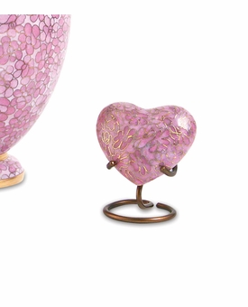 Essence Rose Cloisonne Heart Brass Keepsake Cremation Urn