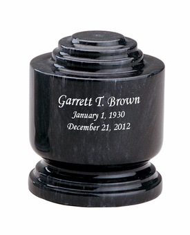 Estate II Memory Black Marble Engravable Cremation Urn