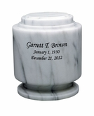 Estate II White Marble Engravable Cremation Urn
