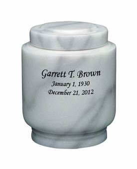 Estate II Youth White Marble Engravable Cremation Urn