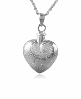 Etched Floral Heart Sterling Silver Cremation Jewelry Pendant Necklace