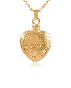 Etched Flower Heart Gold Vermeil Cremation Jewelry Pendant Necklace