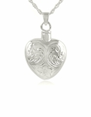 Etched Flower Heart Sterling Silver Cremation Jewelry Pendant Necklace