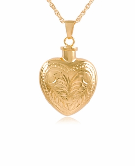 Etched Heart Gold Vermeil Cremation Jewelry Pendant Necklace