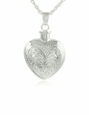 Etched Heart Sterling Silver Cremation Jewelry Pendant Necklace