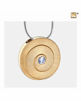 Eternity with Crystal Two Tone Gold Vermeil Cremation Jewelry Pendant Necklace