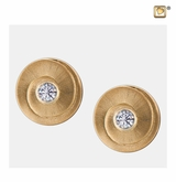 Eternity with Crystal Two Tone Gold Vermeil Memorial Jewelry Stud Earrings