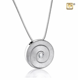 Eternity with Crystal Two Tone Rhodium Plated Sterling Silver Cremation Jewelry Pendant Necklace