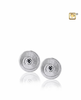 Eternity with Crystal Two Tone Rhodium Plated Sterling Silver Memorial Jewelry Stud Earrings