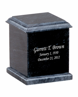 Evermore Memory Square Black Marble Engravable Cremation Urn