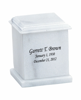 Evermore Memory Square White Marble Engravable Cremation Urn