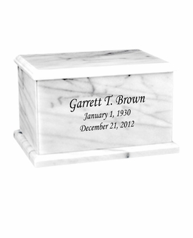 Evermore Rectangular White Marble Engravable Cremation Urn