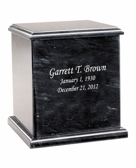 Evermore Square Black Marble Engravable Cremation Urn