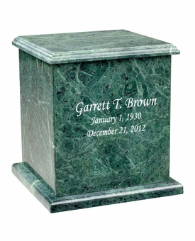Evermore Square Green Marble Engravable Cremation Urn