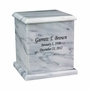 Evermore Square White Marble Engravable Cremation Urn