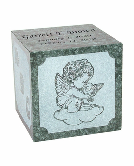 Excelsus Angel Infant Green Marble Engravable Cremation Urn
