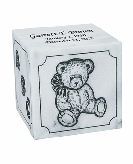 Excelsus Teddy Bear Infant White Marble Engravable Cremation Urn