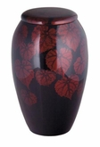 Exotic Floral Leaves Hand Painted Cremation Urn