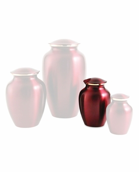 Extra Small Classic Crimson Brass Cremation Urn - Engravable