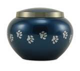 Extra Small Moonlight Blue  /  Pewter Odyssey Paw Print Pet Cremation Urn