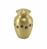Extra Small Paw Prints Classic Brass Pet Cremation Urn - Engravable