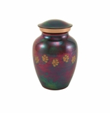 Extra Small Paw Prints Classic Raku Pet Cremation Urn - Engravable