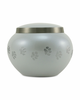 Extra Small Pearl   /  Pewter Odyssey Paw Print Pet Cremation Urn