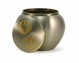 Extra Small Pewter / Brass Odyssey Paw Print Pet Cremation Urn