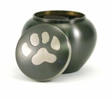 Extra Small Slate  /  Pewter Odyssey Paw Print Pet Cremation Urn