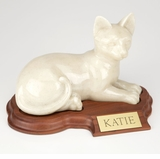 Faithful Feline Laying Hollow Pet Cremation Urn With Walnut Base
