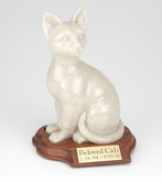 Faithful Feline Sitting Hollow Pet Cremation Urn With Walnut Base