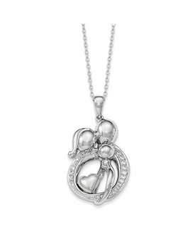 Family Gathering of Three Sterling Silver CZ Memorial Jewelry Pendant