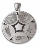 Family Ties Thumbies 3D Fingerprint Sterling Silver Keepsake Memorial Pendant/Charm - Five Prints