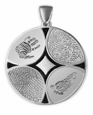 Family Ties Thumbies 3D Fingerprint Sterling Silver Keepsake Memorial Pendant/Charm - Four Prints